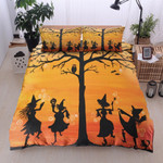 Witch Cat Owl Pumpkin Tree Halloween Cotton Bed Sheets Spread Comforter Duvet Cover Bedding Sets