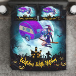 Witches With Hitches Halloween Bed Sheets Spread Comforter Duvet Cover Bedding Sets