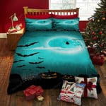 Halloween Night, Flying Bats And Pumpkin Bed Sheets Spread Duvet Cover Bedding Sets