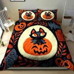 3D Black Cat In The Pumpkin Halloween Cotton Bed Sheets Spread Comforter Duvet Cover Bedding Sets