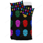 Happy Halloween, Skull Varity Colors Bed Sheets Spread Duvet Cover Bedding Sets