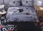 Happy Halloween Party Witch Cotton Bed Sheets Spread Comforter Duvet Cover Bedding Sets