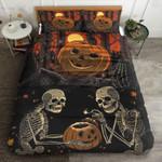 Pumpkin Skeleton Halloween Bed Sheets Spread Duvet Cover Bedding Sets