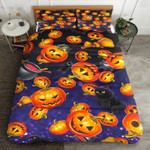 Halloween Pumpkins And Black Cat Bed Sheets Duvet Cover Bedding Set Great Gifts For Birthday Christmas Thanksgiving