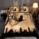 Black Cat Halloween Bed Sheets Duvet Cover Quilt Bedding Set