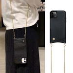 Classic Luxurious Crossbody Wallet Phone Case (with Metal Strap)